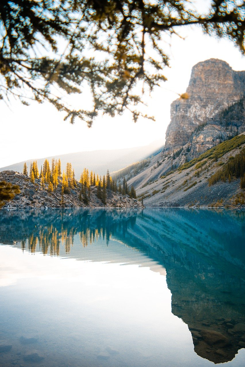 mountains, blue lake, landscape